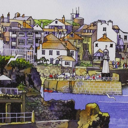 A Jim Watson watercolour of a Cornish harbour