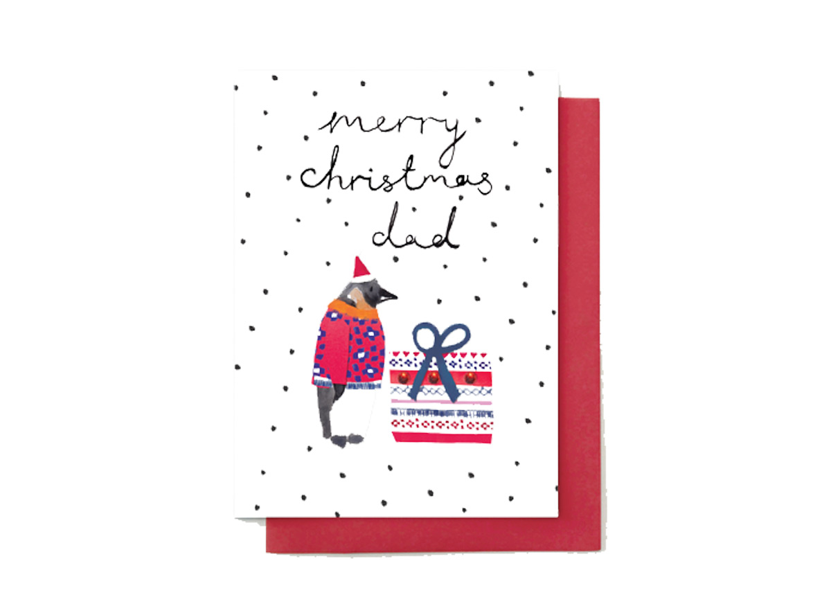 merry christmas dad penguins card