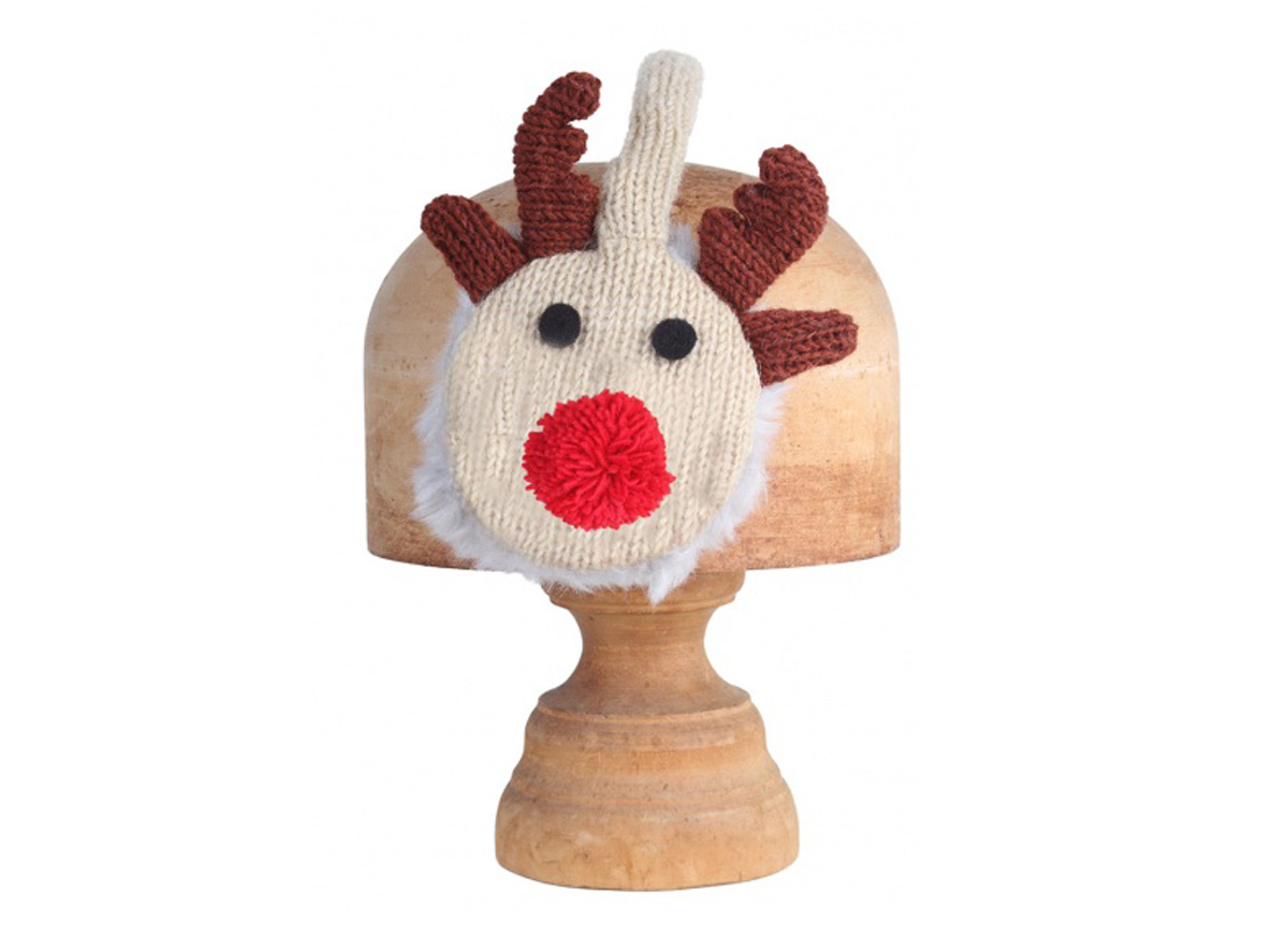Lined with Faux Fur 100/% Wool Rudolph Earmuffs HANDMADE by Pachamama