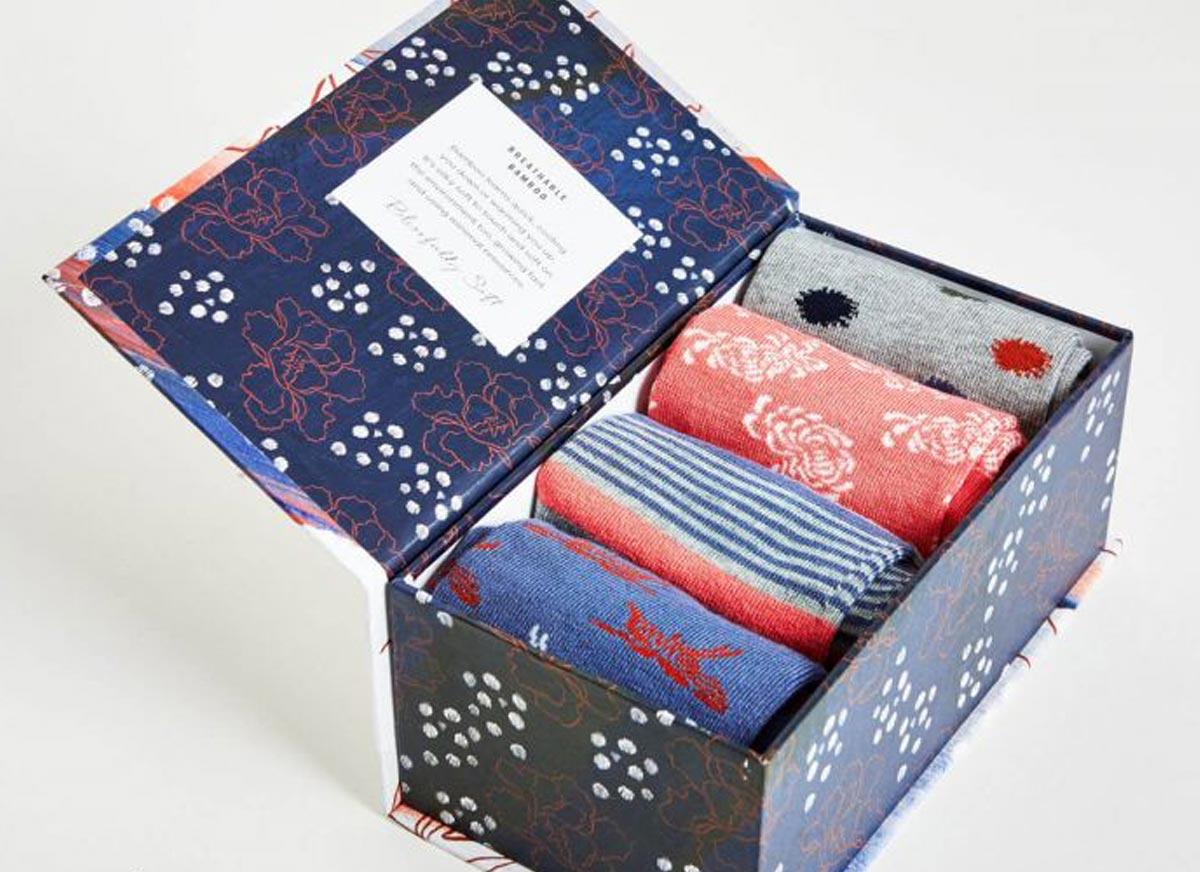 Sashiko bamboo socks gift box