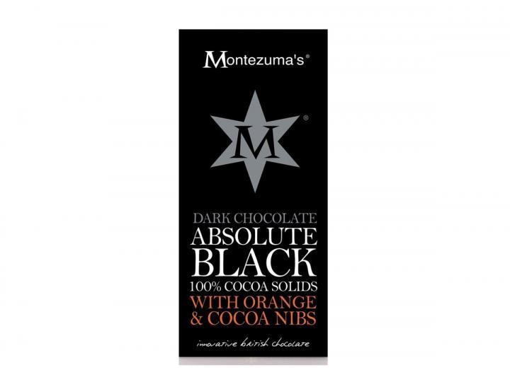 Montezuma's absolute black dark chocolate with orange & cocoa nibs