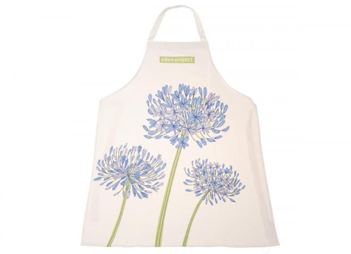 Organic cotton apron with agapanthus design