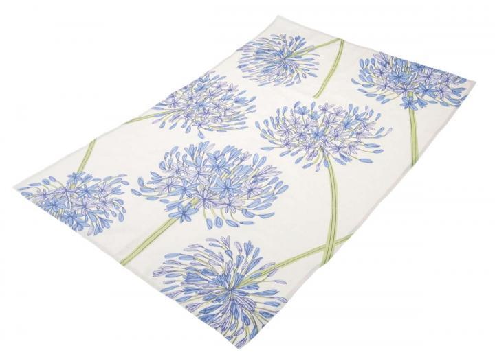 Organic cotton tea towel with agapanthus design