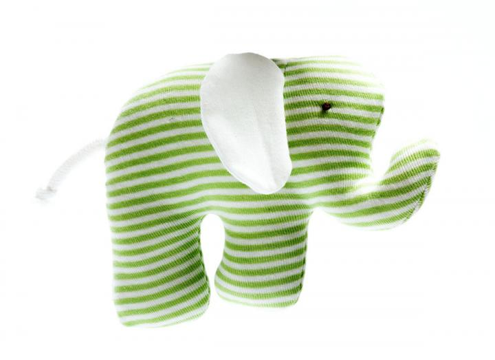 Scrappy elephant toy green stripe organic cotton fair trade