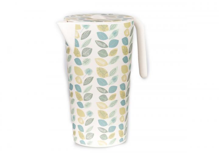 Bamboo lidded jug with teal leaf print design