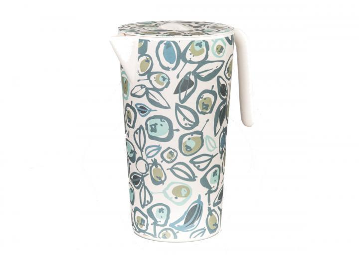 Bamboo lidded jug with teal olive print design