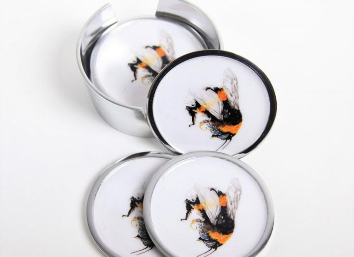 Recycled aluminium, fairtrade bee design coasters set of 6