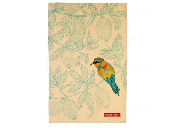 Cotton tea towel with a European bee-eater bird print