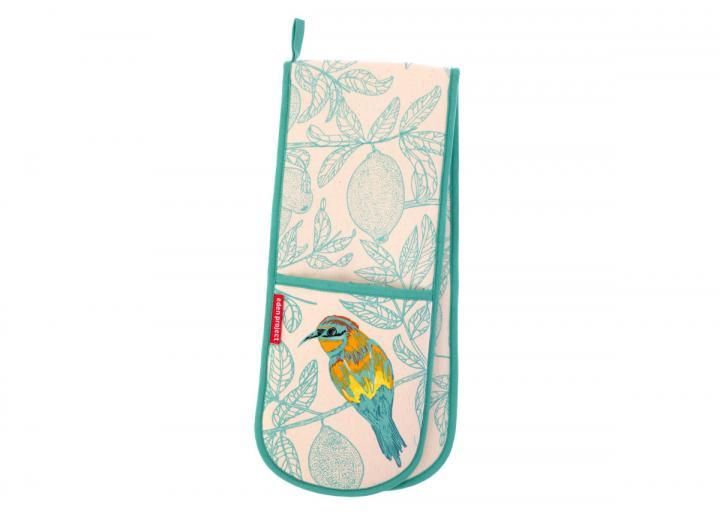 Cotton double oven glove with a European bee-eater bird design