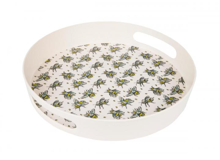 Bee print round bamboo tray, an Eden Project exclusive design