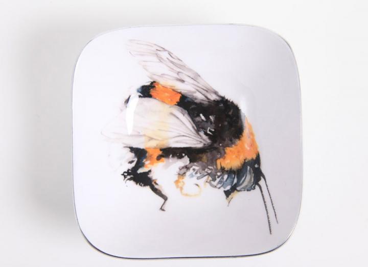 Recycled aluminium, fairtrade bee design square bowl