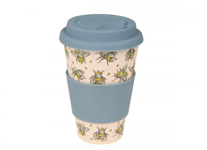 Bee print bamboo coffee cup, exclusive Eden Project design