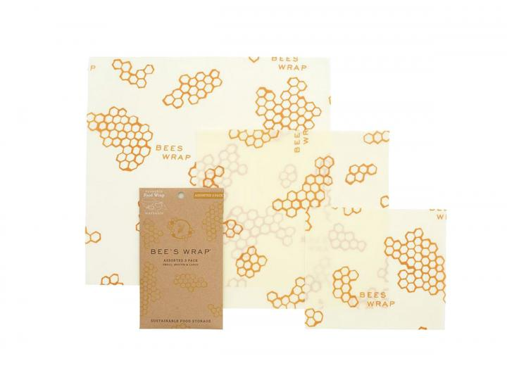 Bee's Wrap honeycomb print assorted 3 pack of food wrap, made from beeswax and organic cotton