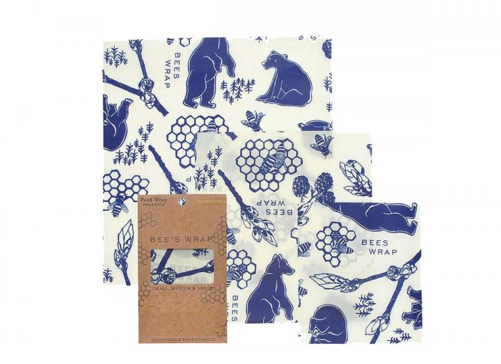 Bee's Wrap bees & bears print assorted 3 pack of food wrap, made from beeswax and organic cotton