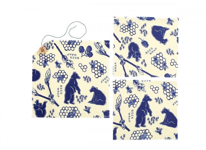 Bee's Wrap bees & bears print lunch pack, made from beeswax and organic cotton