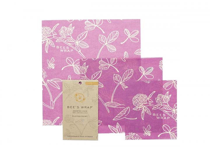 Bee's Wrap clover print assorted 3 pack of food wrap, made from beeswax and organic cotton