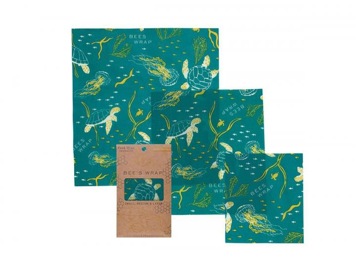 Bee's Wrap ocean print assorted 3 pack of food wrap, made from beeswax and organic cotton
