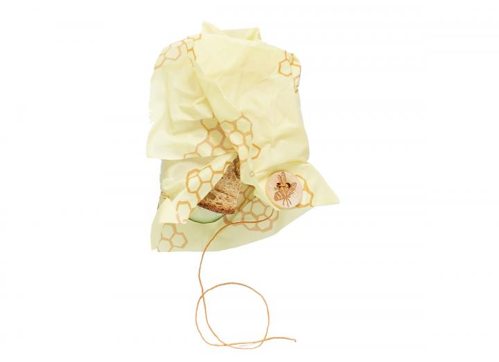 Bee's Wrap honeycomb print sandwich wrap, made from beeswax and organic cotton