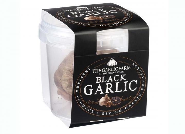 Black garlic bulbs from The Garlic Farm on the Isle of Wight