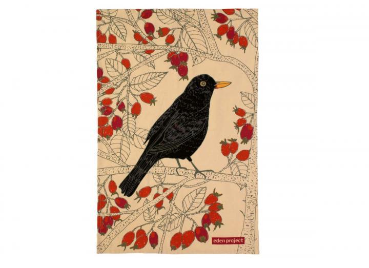 Cotton tea towel with a blackbird design