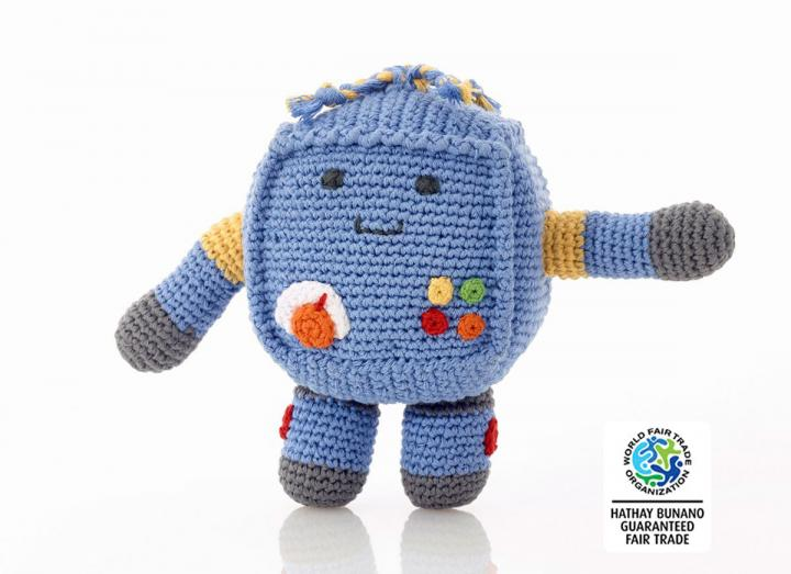 Crochet blue robot