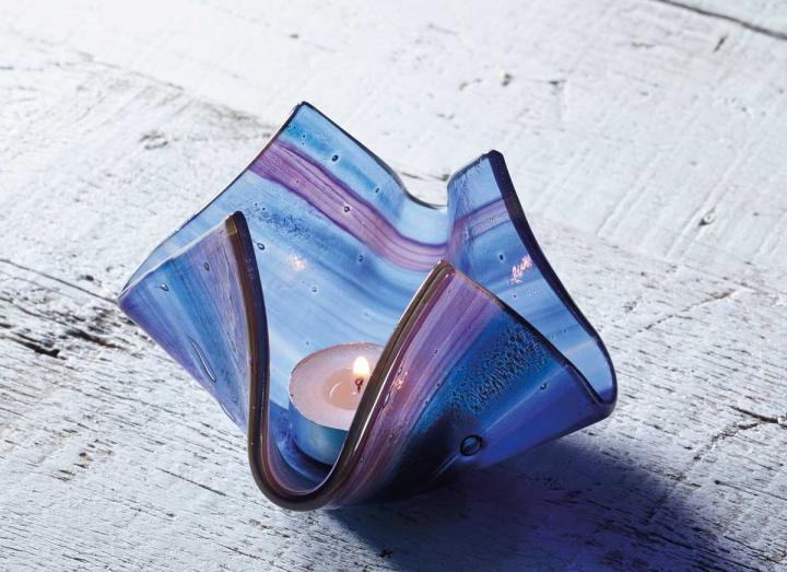 Small blue candle vase from Jo Downs