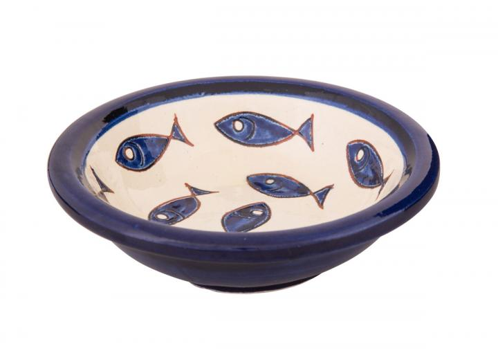 Tapas bowl with a blue fish design