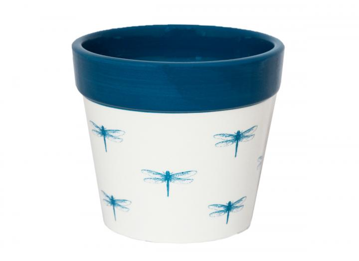 Botanical dragonfly print plant pot from Ivyline, available in 7cm, 10cm & 13cm