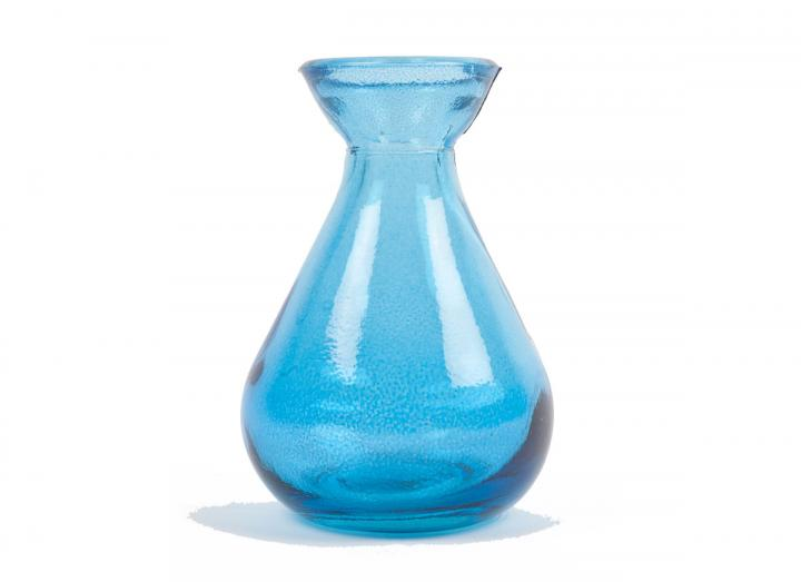 Blue recycled glass bud vase