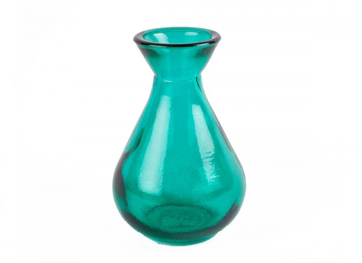 Teal recycled glass bud vase