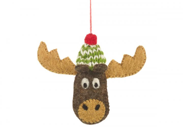 Bully the moose hanging decoration, fairtrade and handmade by Felt So Good