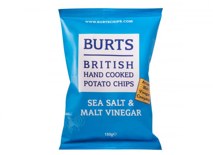 Burts sea salt & malt vinegar potato chips 150g