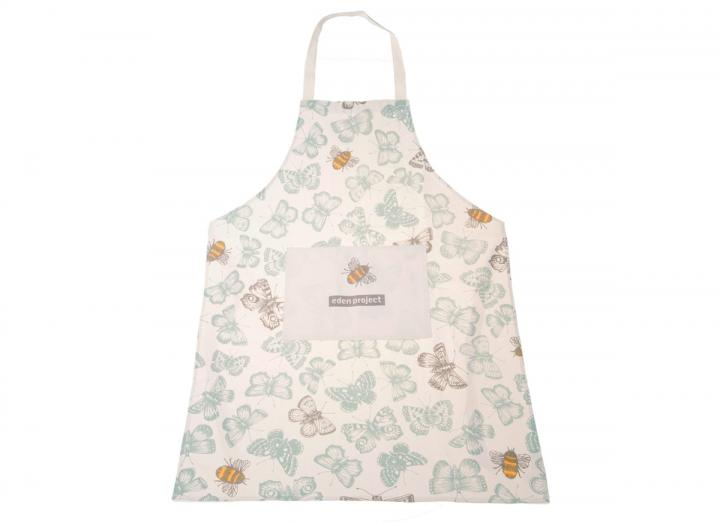 Organic cotton apron with butterflies & bees design