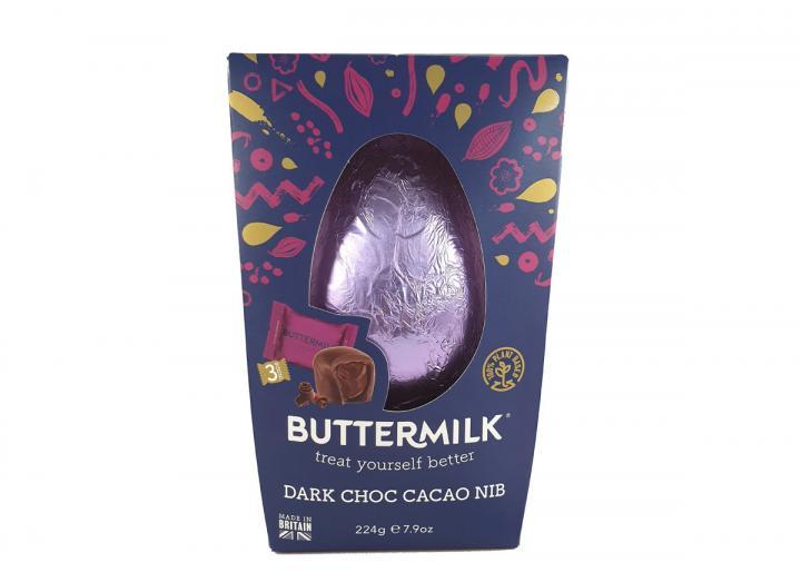 Buttermilk dark chocolate caramelised cacao nib egg