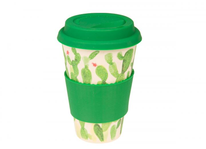 Cactus print bamboo coffee cup, exclusive Eden Project design