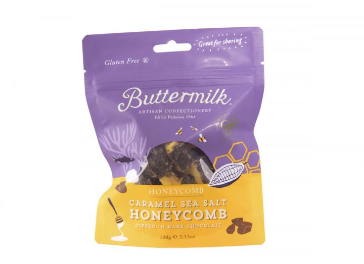 Caramel sea salt honeycomb pouch from Buttermilk Confections