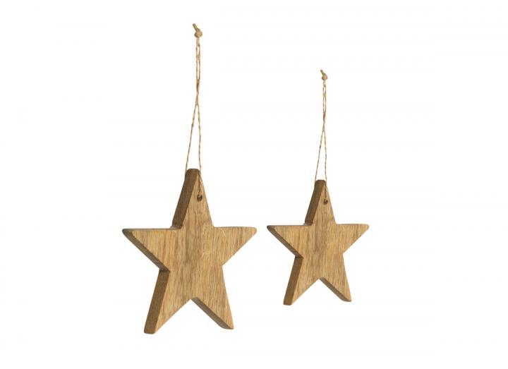 Chana mango wood star hanging decorations from Nkuku