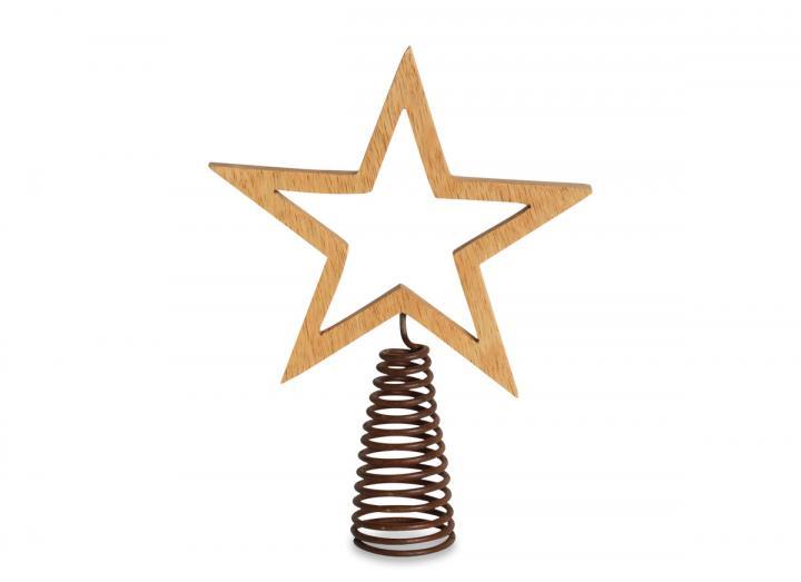 Mango wood star shaped tree topper from Nkuku