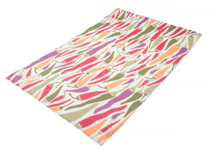 Organic cotton tea towel with chilli design