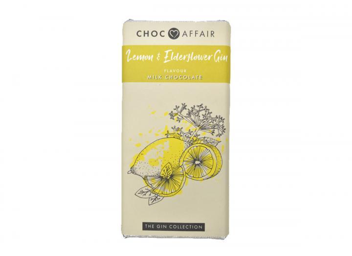Choc Affair lemon & elderflower gin milk chocolate bar