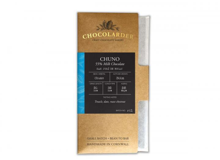 Chocolarder chuno 55% milk chocolate bar