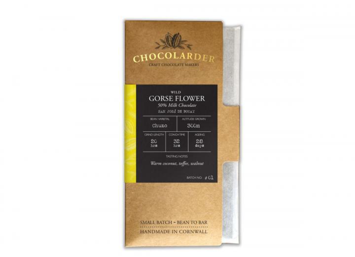 Chocolarder wild gorse flower 50% milk chocolate bar
