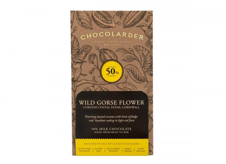 Chocolarder wild gorse flower 50% milk chocolate bar