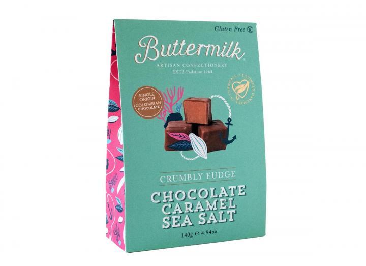 Buttermilk chocolate covered caramel sea salt fudge