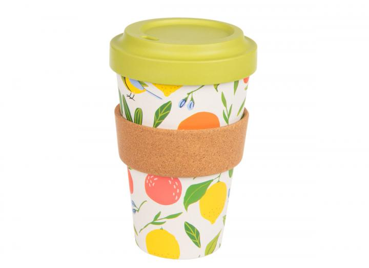 Citrus & birds bamboo cup