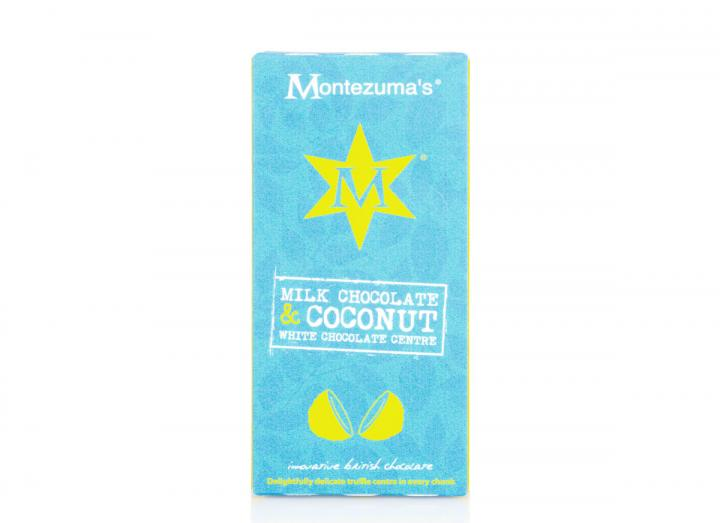 Montezuma's milk chocolate with a coconut white chocolate truffle centre