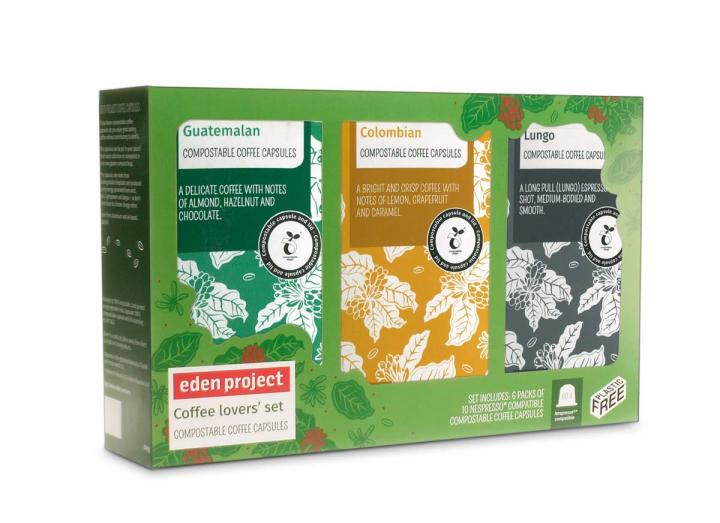 Coffee lovers' set - includes six packets of Eden Project compostable coffee capsules