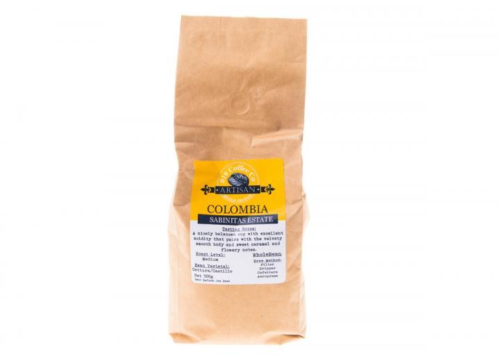 Bag of Colombian single origin whole bean coffee 500g