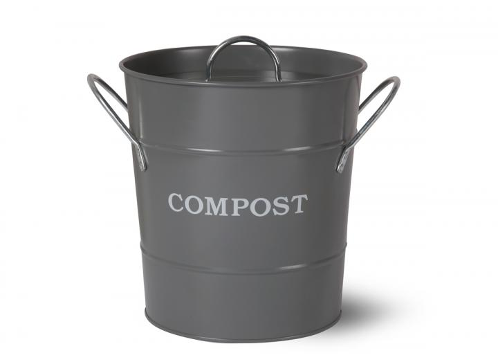 Garden Trading compost bucket in charcoal steel