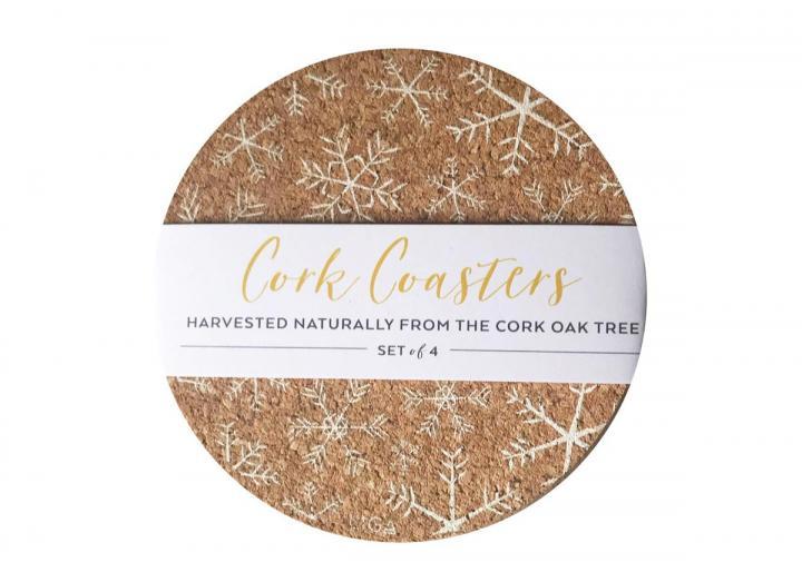Cork snowflakes coasters set of 4